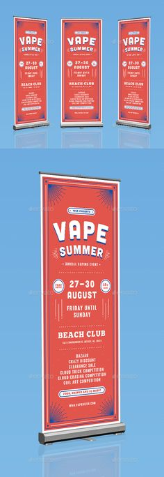 Vape Summer Roll Up Banner by bigmidin File Features:Psd & Ai Files Size 80x200 Cm   Bleed Area CMYK 150 DPI Editable text, images & color Well Organized Layer Font Use