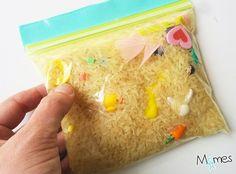 sac sensoriel riz Plus Montessori Activities, Infant Activities, Activities For Kids, Sports Activities, Sensory Bags, Baby Sensory, Autism Education, Activity Bags, Educational Toys For Toddlers