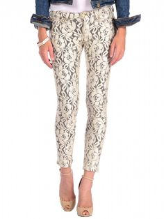 7 For All Mankind The Skinny in Double Knit Lace Orchid