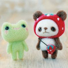 wool felted panda bear and frog