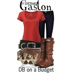 Disney Bound: Gaston from Disney's Beauty and the Beast (DB On A Budget Outfit) Disneybound Outfits, Disney Outfits, Cute Outfits, Disney Clothes, Moda Disney, Disney Mode, Fandom Outfits, Cosplay Casual, Easy Cosplay