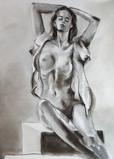 Posing nude on cubes - charcoal (2021) Cubes, Charcoal, My Arts, Statue, Sculptures, Sculpture