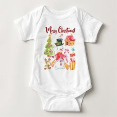 Merry Christmas Snowman Winter Scene Cute Holiday Baby Bodysuit - diy cyo customize create your own personalize