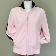 Gloria Vanderbilt Jacket Sporty Pink & Black  Gloria Vanderbilt Jacket Sporty Pink & Black. Sport zip up jacket. Brand new with tags. Excellent condition. In super soft velour. Two front pockets. Very sharp looking. Gloria Vanderbilt Jackets & Coats