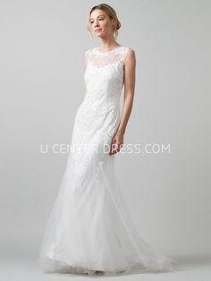 US$100.99-Sheath Scoop-Neck Sleeveless Tulle Wedding Dress under $200  #affordable #200 #2016 #sale