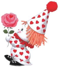 Ruth Morehead valentine clown with rose