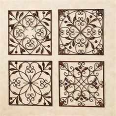 the catalonia olive wall grille set features four openwork panels with scroll medallion designs metal wall grilles are adorned with small olive berries