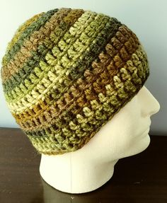 Crochet Beanie Camo Browns and Greens adult
