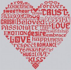 Words of Love Cross Stitch Pattern Chart Instant by Chartsandstuff, £3.50