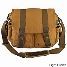 Zodaca Multi-pocket Vintage Canvas Messenger Bag with Button Lock ($37) ❤ liked on Polyvore featuring bags, messenger bags, brown, canvas courier bag, locking messenger bag, multi pocket messenger bag, brown canvas messenger bag and vintage laptop bag