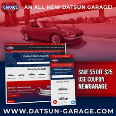 We are proud to announce the launch of our brand new website with instant parts search!  www.datsun-garage.com  Existing customers please check out with the same email address you used previously because we have migrated over your order history and loyalty points.  As always we thank you for your support! Please let us know if you have any issues with the new site or are looking for a past that isn't listed. We're here to help! Existing Customer, Shopping Coupons, News Sites, Email Address, Loyalty, Carbon Fiber, Nissan, Garage, Garages