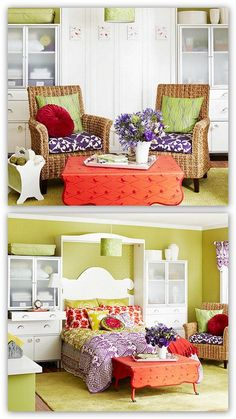 Murphy bed/guest room/craft space from www.thedesignfile.net-This was the idea I had for the murphy bed/guest room in my magazine. I love how versatile this is. I think this idea will be apart of my home for sure!!!