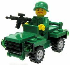 ToyWiz Custom Vehicle Battle-Ready Soldier Minifigure & Mini Jeep Featuring BrickArms Weapons & Gear Hot! Random Head & Weapon!
