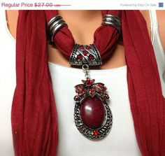 red jewelry scarf solid color