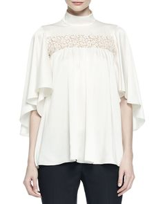 Alexander McQueen Ruffled Lace-Inset Blouse