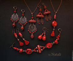 """Купить Подвеска """"Kalakmul"""" - натуральные кораллы (2 вариант) - красный кулон, красное колье"""