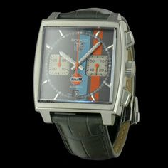 "TAG HEUER - Monaco ""Gulf"" Chronographe, cresus montres de luxe d'occasion, http://www.cresus.fr/montres/montre-occasion-tag_heuer-monaco_gulf_chronographe,r2,p26446.html"
