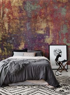 Copper Painting - Self-Adhesive Wallpaper - Removable Wallpaper - Wall Sticker - Wall Mural - Customizable Wallpaper Home Wallpaper, Adhesive Wallpaper, Copper Wallpaper, Reading Wallpaper, Bohemian Wallpaper, Custom Wallpaper, Distressed Walls, Wall Finishes, Faux Paint Finishes