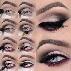 Delineado inferior en color para ojos claros en este maquillaje de ojos ahumados paso a paso para noche