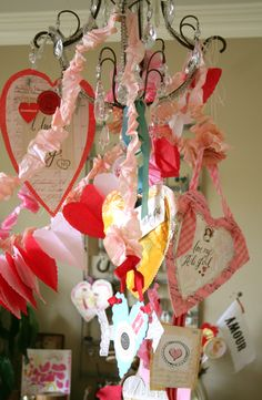 Love this Valentine's Day chandelier.  I hope my kids want to make Valentines.
