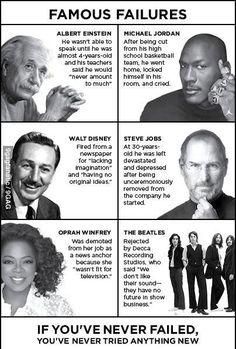 Never give up on anything quotes Oprah winphrey the Beatles steve jobs walt Disney Michael Jordan and Albert Einstein Stories Of Success, Success Quotes, Life Quotes, Faith Quotes, Wisdom Quotes, Never Give Up Quotes, Giving Up Quotes, Change Quotes, Famous Failures