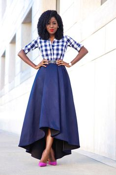 Gingham Shirt + High Low Full Skirt