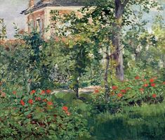 The Monet Family in Their Garden at Argenteuil, Édouard Manet (French, Oil on canvas Edouard Manet, Post Impressionism, Impressionist Art, Renoir, Garden Painting, Floor Painting, Oil Painting Reproductions, Arte Popular, Art Moderne