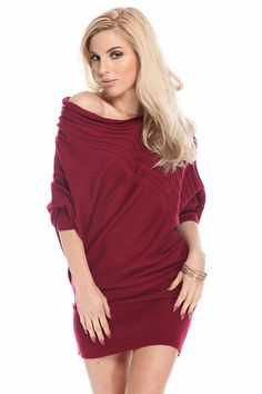 BERRY OFF SHOULDER SLOUCHY BANDED SWEATER DRESS