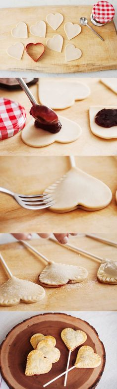 Heart Pie Pops ~ Making a pie look like lollipop is one of the best ideas to use for the next party!