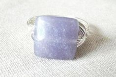 Lepidolite Ring Purple Stone Ring Wire Wrap Ring by PepperandPomme