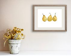 Yellow Pears art Print watercolor painting kitchen art