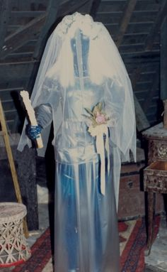 Original ghost bride in the attic of the Haunted Mansion. Her blacked out face and glowing eyes were much scarier to me than the current model.  They also used an exaggerated heart beat sound effect in the attic that was scary to my 6 yr old self.