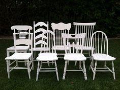 Farmhouse Chairs, Set of 6, Dining Chairs, White, Shabby Chic, Mix & Match, Eco-Friendly, Kitchen Chair,(Los Angeles) by ThePaintedLdy on Etsy https://www.etsy.com/listing/153247927/farmhouse-chairs-set-of-6-dining-chairs