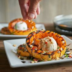 Recipes | Steam Grilled Butternut Squash, Burrata, Roasted Hazelnuts and Balsamic Reduction | Sur La Table