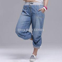 YueMei Estilo 2016 mujeres del verano pantalones harén pantalones vaqueros más tamaño pantalones sueltos para las mujeres pantalones de mezclilla pantalones Capris para mujer 6XL