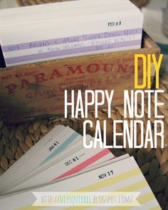 CUTE. Happy Note Calendar - A recyclable calendar with a date-stamped index card for each day of the year.  As you cycle through the calendar, you take note of memorable events on each day's card by citing the year and the event.  Examples include baby's first steps, starting a new job, or even something as simple as meeting up with friends. The idea is that as you cycle through the calendar through the years, you'll stumble across your memorable notations and feel happy.