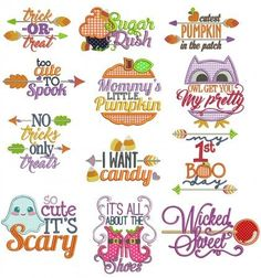 Embroidery Stitches Designs Halloween Word Art Machine Embroidery Designs by JuJu - Embroidery Store, Learn Embroidery, Embroidery Files, Embroidery Applique, Embroidery Stitches, Embroidery Patterns, Embroidery Jewelry, Embroidery Techniques, Halloween Words