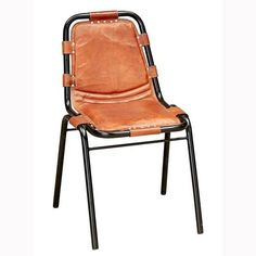 Factory side chair with leather ATFUVF487