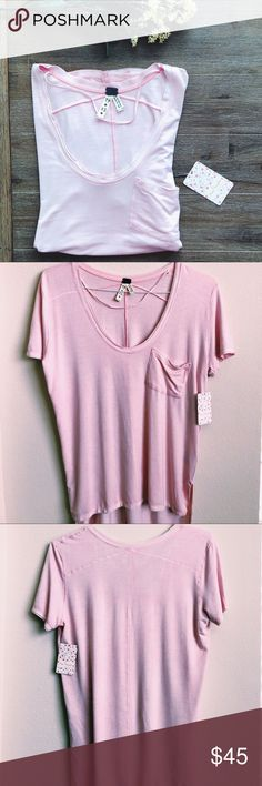 🆕🌸FREE PEOPLE🌸 Rising Sun Tee 🌿new with tags! 🌿perfect for Spring/Summer 🌿lightweight, soft, + comfy 🌿size extra small  🌿color: light pink 🌸Bundles are 15% off!🌸 •More Free People in my closet!!• Free People Tops Tees - Short Sleeve