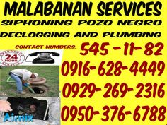JLj malabanan siphoning pozo negro services 545-1182/09292692316 MALABANAN SIPHONING POZO NEGRO AND PLUMBING SERVICES CONTACT NUMBERS: (02) 545-11-82 0912-933-7719 0929-269-2316 ...