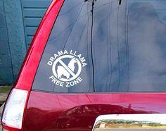 Drama Llama Free Zone Sticker for car or by SewardStreetStudios, $7.00