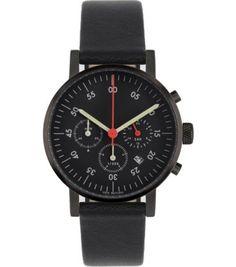 5fba3e2bb Void Unisex Chronograph Stainless Watch - Black Leather Strap - Black Dial  - V03C-BL/BL/BL