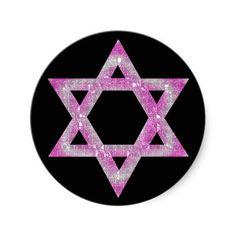 Purple Jeweled Star of David Design Sticker