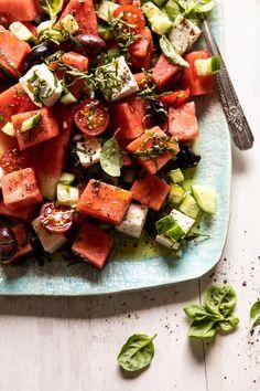 Greek Watermelon Feta Salad with Basil Vinaigrette Griechischer Wassermelonen-Feta-Salat mit B. Summer Recipes, New Recipes, Salad Recipes, Favorite Recipes, Greek Recipes, Brunch Recipes, Easy Salads, Summer Salads, Spring Salad