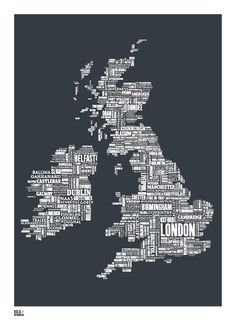 British Isles Type Map in Sheer Slate decorative by boldandnoble, $69.00