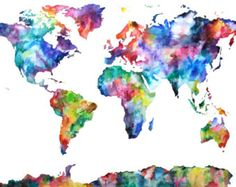20x30 Watercolor Map Print World Map Watercolor by AudreyDeFord
