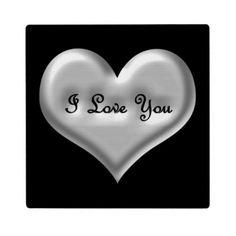 Sold! Thank you! Customizable black background with grey metallic 3D heart and engraved text
