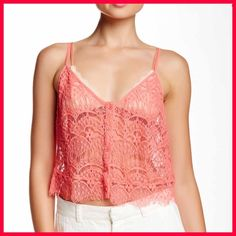 """BB Dakota Lace Cami(pick any 2 items for $27) BB Dakota Ahana Lace Cami- Details: - V-neck - Sleeveless - Adjustable spaghetti straps - Front button closure - Allover partially sheer lace - Frayed hem - Approx. 19"""" length - Imported BB Dakota Tops Camisoles"""