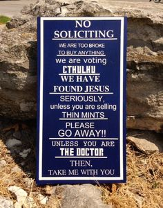 Hey, I found this really awesome Etsy listing at http://www.etsy.com/listing/160621711/dr-who-no-soliciting-sign