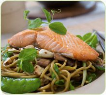 Chow Mein Style Noodles with Pea Shoots and Salmon